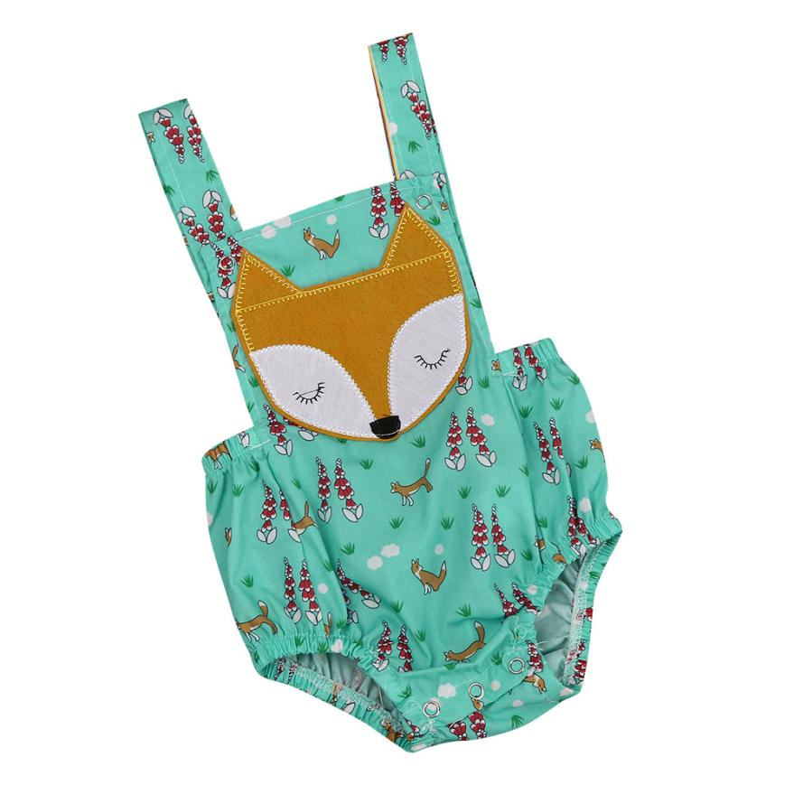 Hot sale baby girl clothes summer newborn clothes fox Animal cute Print Backless Sleeveless Romper Jumpsuit fashion green bebes