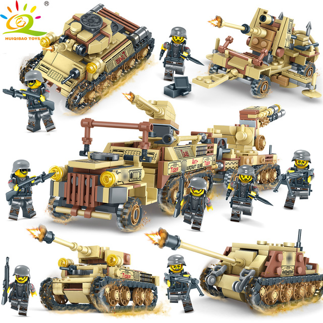 HUIQIBAO TOYS 678pcs 4in1 Army WW2 Truck Soldier Building Blocks For Children Compatible Legoingly Military Figures Tank Bricks