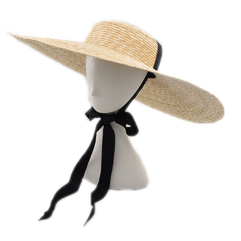 Wide Brim Hat Summer Beach Wheat Straw Women Boater hat with Ribbon Tie For Vacation Holiday Audrey Hepburn 671073 in Women 39 s Sun Hats from Apparel Accessories