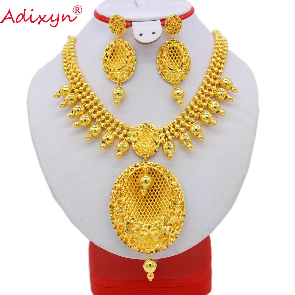 купить Adixyn India Exquisite Necklace/Earrings Jewelry Set for Women Gold Color Jewelry Ethiopian/African Wedding/Party Gifts N082630 недорого