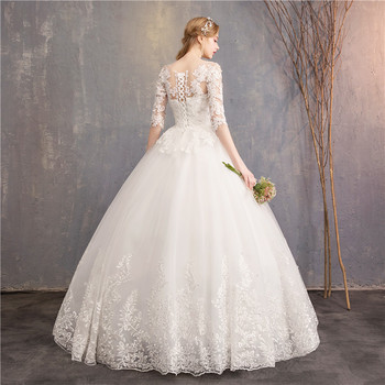 Half Sleeve Wedding Dresses 2020 New Mrs Win Luxury Lace Embroidery Ball Gown Wedding Dress Can Custom Made Vestido De Noiva F 5