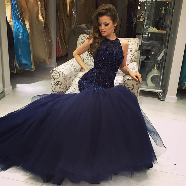 New Bling Bling Navy Blue Long Prom Dresses Mermaid Style Beaded ...