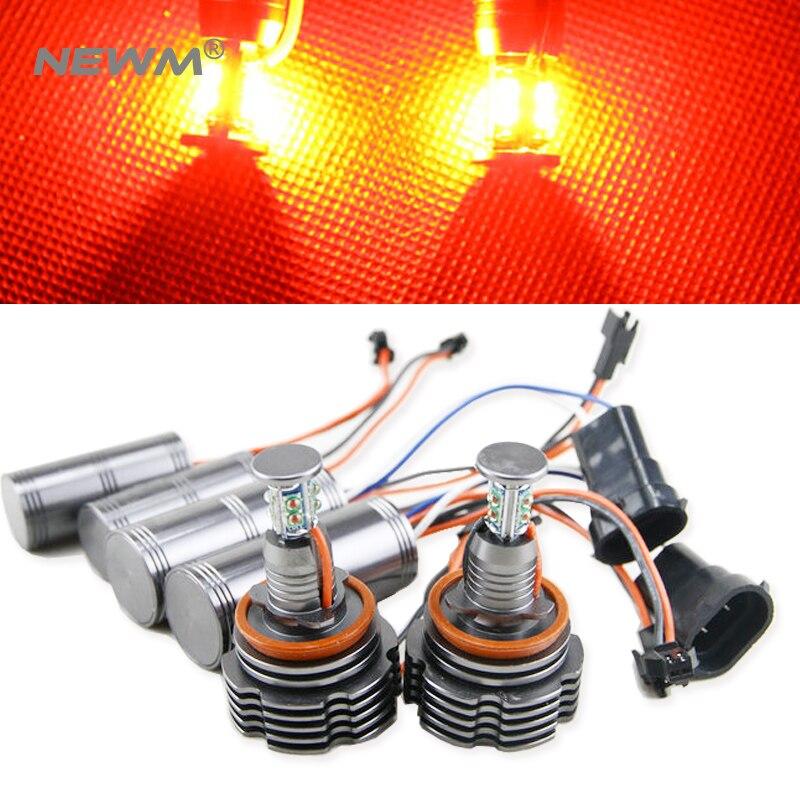 Red 1 Set Angel Eyes for BMW E60 E61 E63 E64 E70 X5 E71 X6 E82 E87 E89 Z4 E90 E91 E92 E93 80W H8 CREE LED Chips Marker bulb lamp super bright 120w h8 6000k error free cree chips led light bulb angel eye bulbs for bmw 1 3 z series e82 e88 e89 e90 e92 e93 m3