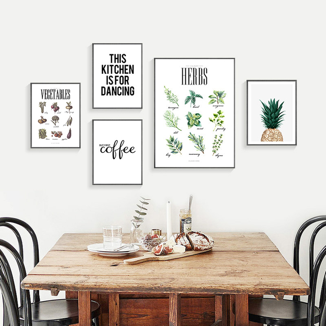 Nordic Minimalist Pineapple Art Canvas Painting Print Vegetables Herbs Posters Wall Pictures For Dining Hall Home