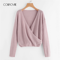 COLROVIE Purple V Neck Surplice Front Wrap Sexy Women Sweater 2018 Autumn Long Sleeve Loose Sweater Girl Pullovers Jumper