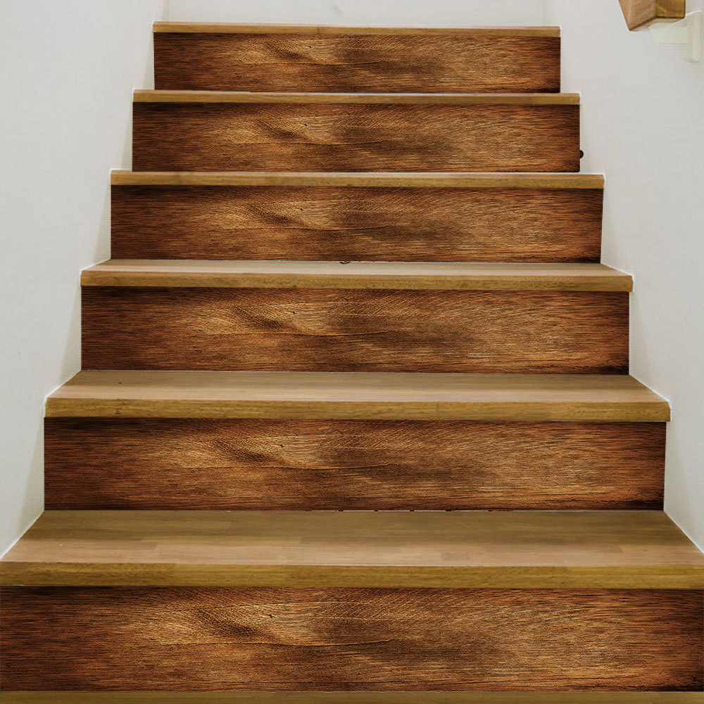 3d best match wood pattern wall tile stairs stickers removable pvc wall sticker waterproof mural poster for room stairway