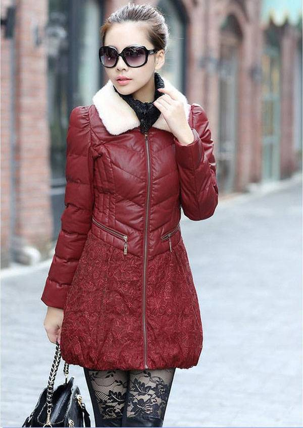 ФОТО New arrival women's cotton coat fashion fur collar jacket new style lace coat long coat thick winter jacket A1332