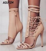 AGUTZM Sexy Gladiator Women Pumps High Heels Peep Toe Lace up Cross tie High Heels Women 12cm Thin Heel Party Shoes