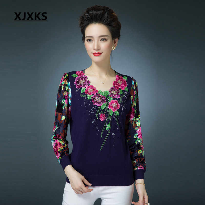 ... Winter Spring Jumper Womens Sweaters Pullover Knitted Colorful Beading  Fashion High Quality Black Red Navy Blue. RELATED PRODUCTS. XJXKS Pullover  Top ... b3b579b2e