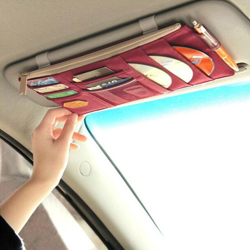 High-grade Sun Visor Storage Bag Car Notes Pouch CD Receive Bag DVD Disk Card Visor Case Folder Pocket Travel Organizer