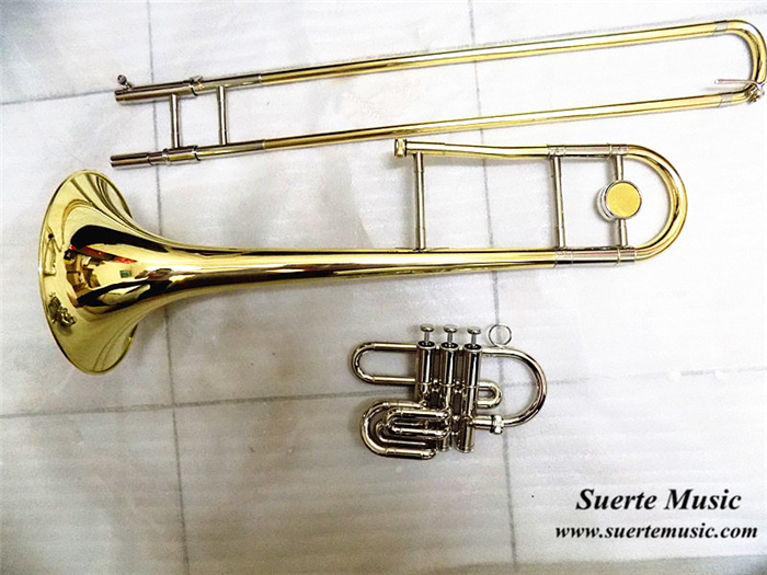 Bb Piston/Slide Trombone Yellow Brass Body Cupronickel Piston with Case and mouthpiece musical instruments piston