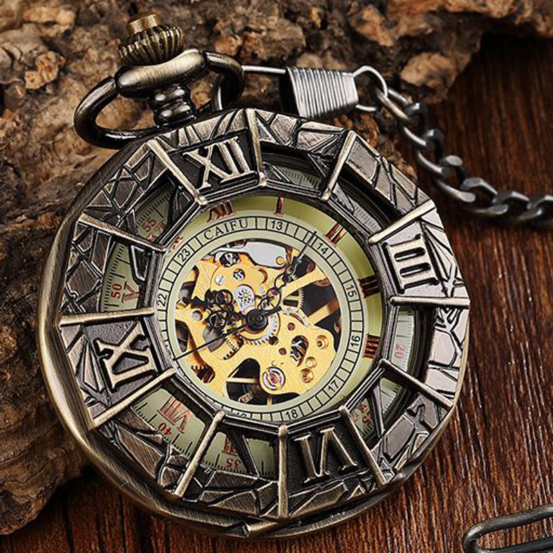 Hollow Roman Numerals Mechanical Pocket Watch Antique Spider Engraved Steampunk Necklace Fob Unisex Mens Vintage Pendent Watch