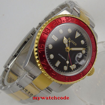 40mm bliger black dial sapphire glass red bezel GMT date automatic mens watch