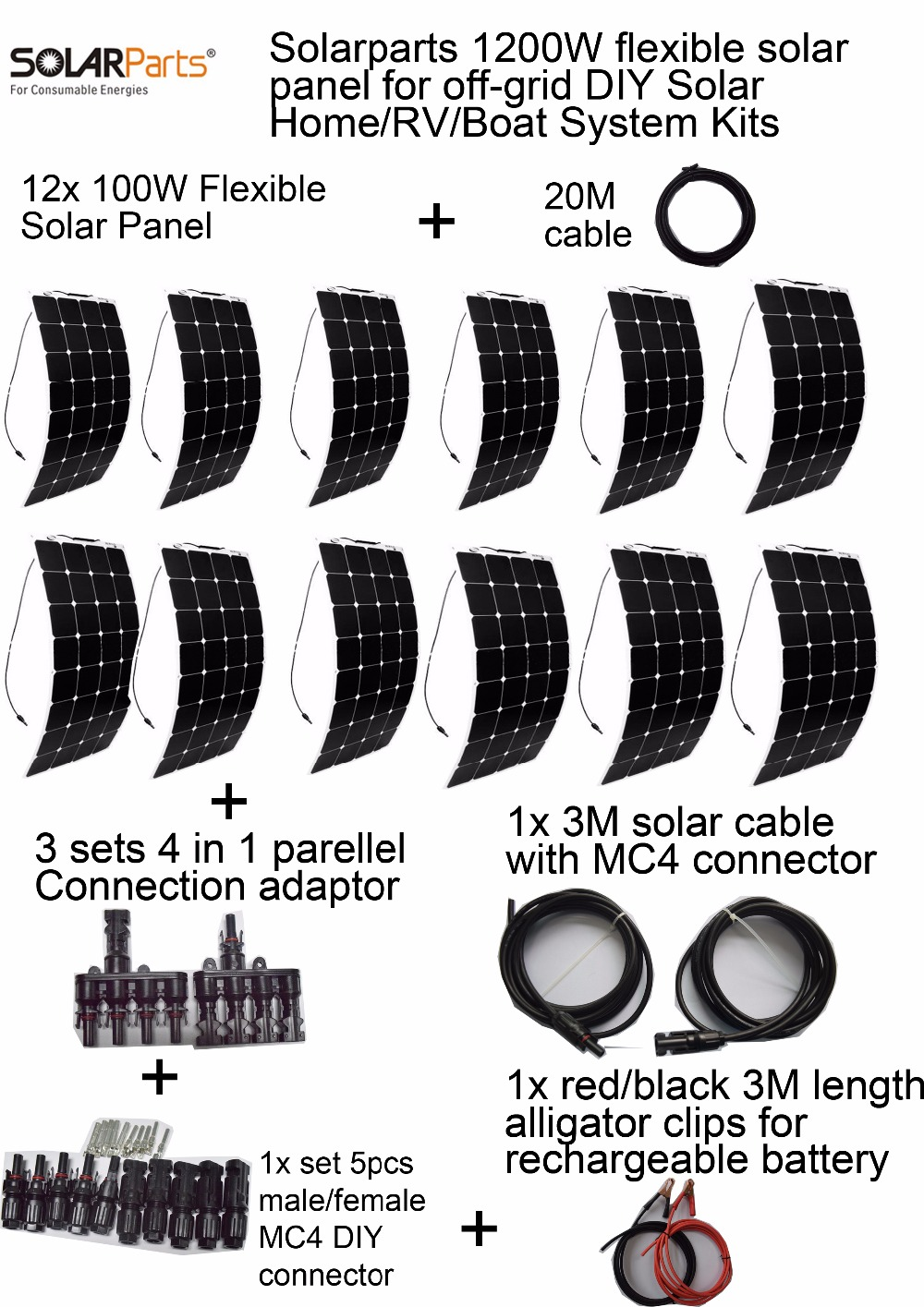 Solarparts Off-grid Solar System KITS 1200W Flexible Solar Panel 3 Sets 4 In1 MC4 Adaptor Cable, Full Set Connecting Cable Solar