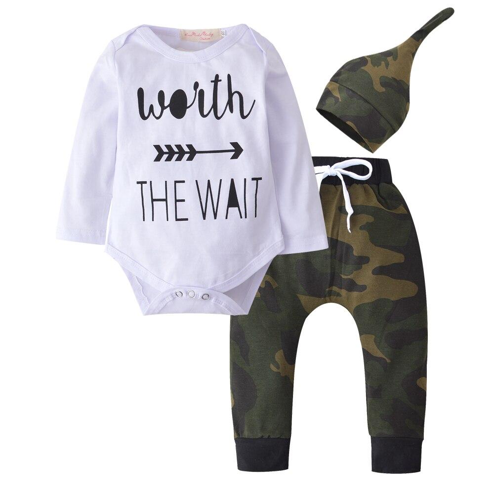 2018 Autumn Baby Boys Girls Clothes Set Newborn Long sleeve Letter Romper Tops+ArmyGreen Pants+Hat 3 pcs Toddler Clothing set