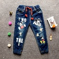 2017 autumn new trousers fashion cartoon letters boys and girls hole jeans