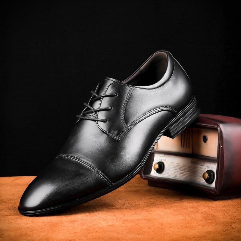 Tallas grandes 48 zapatos de hombre de marca de cuero Casual de moda negro azul marrón zapatos planos para hombres zapatos de negocios de envío directo * 6628 - 2