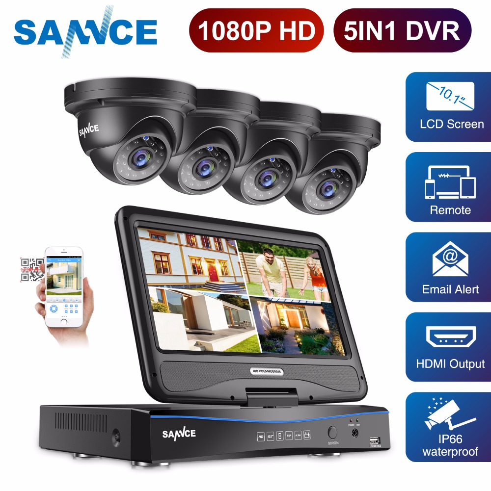 SANNCE 4-Channel Full HD 1080P Security Camera System DVR with 10.1'' LCD and 4pcs IP66 Weatherproof Outdoor Camera 4CH CCTV Kit
