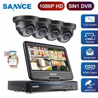 SANNCE 4 Channel Full HD 1080P Security Camera System DVR with 10.1'' LCD and 4pcs IP66 Weatherproof Outdoor Camera 4CH CCTV Kit
