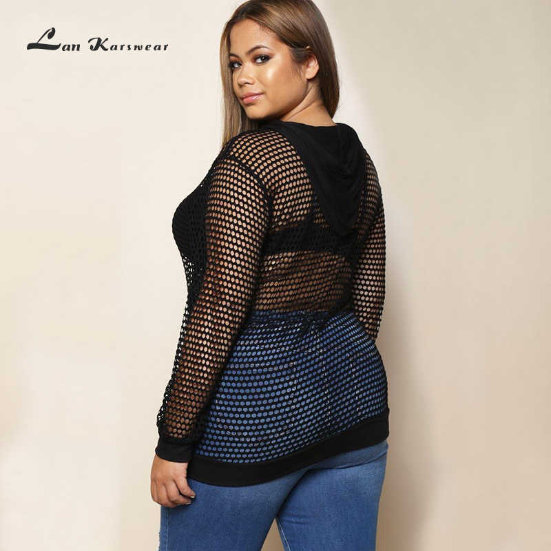 Lan karswear 2019 긴 소매 fishnet 메쉬 자르기 운동복 여성 플러스 사이즈 탑스 섹시한 느슨한 자른 스웨터 여성 후드
