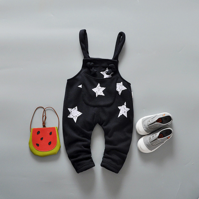 Free Shipping 2016 Spring Autumn Baby Cute Star Pattern Bib Pants, Male Child Thick Warm Overalls Infant Pants, Baby Cloths