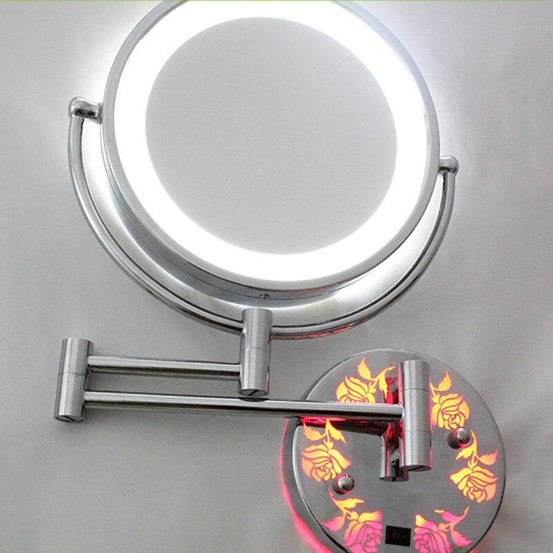 Косметическое зеркало для макияжа с светильник светодиодный 5X 7X 10X увеличение телескопические расширения 2 лицевая сторона Ванная комната ...