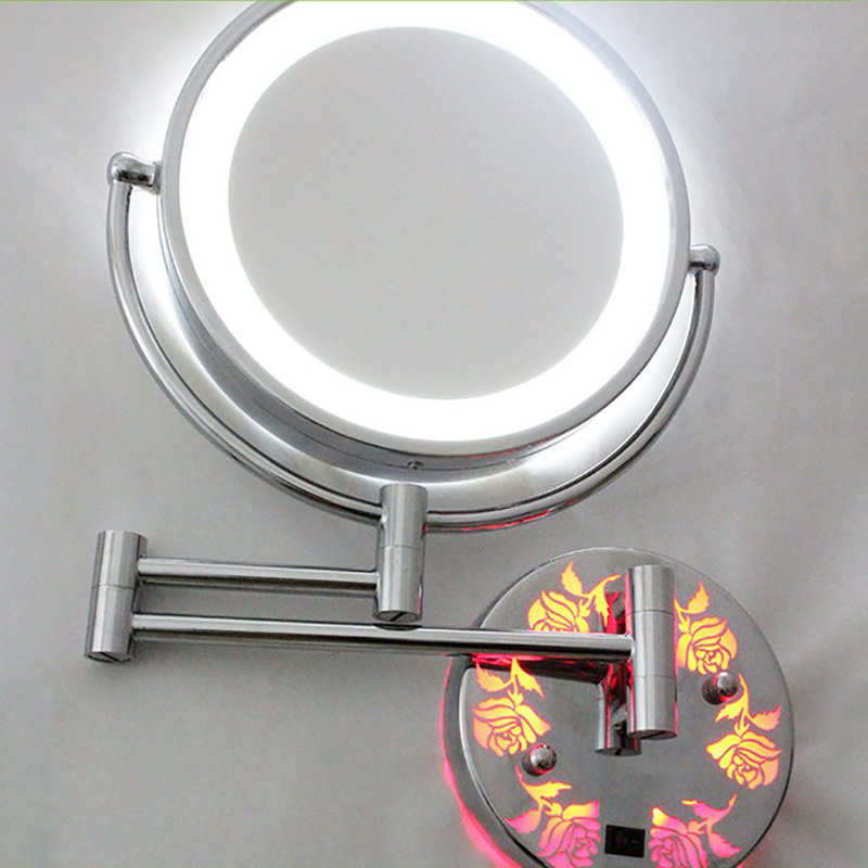 Makeup Vanity Mirror with Light LED 5X 7X 10X Magnification Mounted Telescopic Enlargement 2 Face Bathroom Wall Cosmetic Mirror