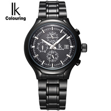 IK Luminous Multifunction Sub Dial Week Calendar Month Hours Automatic Self Wind Hardlex Window Men Watch relogio masculino