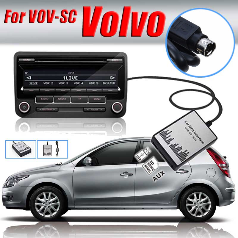 High Quality 1 Set USB SD AUX Car MP3 Adapter Audio Interface CD Changer for Volvo SC Car Electronics MP3 Player Converter yatour ytm07 digital music cd changer usb sd aux bluetooth ipod iphone interface for volvo sc xxx radios mini din mp3 adapter