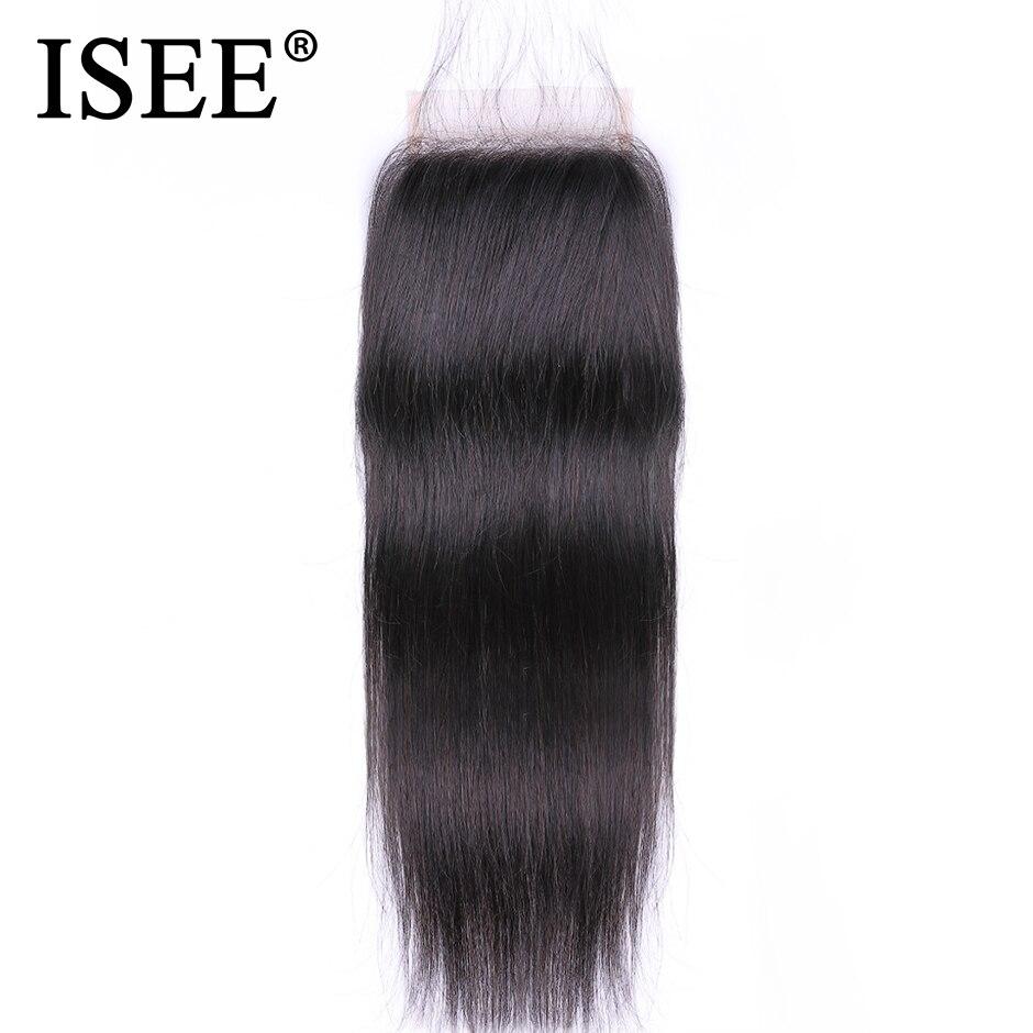 ISEE волосы прямые волосы Малайзии застежка связали Бесплатный Часть Кружева Закрытие человеческих волос Бесплатная доставка может быть окр...