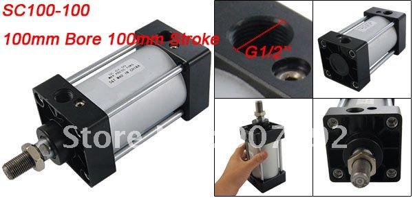 High Quality 100mm Bore 100mm Stroke SC Standard Cylinders 100*100 Double Acting Pneumatic Air Cylinder high quality double acting pneumatic gripper mhy2 25d smc type 180 degree angular style air cylinder aluminium clamps