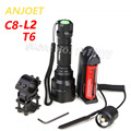 High Quality 2000LM Lantern C8 XML L2 T6 Led Flashlight Linterna Torch Light Hunting Flash Light+18650+Battery Charger+Gun Mount