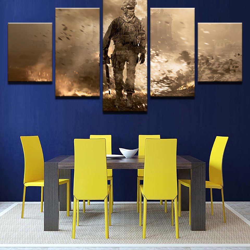 Canvas HD Prints Pictures Living Room Home Decor 5 Pieces Flame Battlefield Soldiers Armed Paintings Wall Art Posters Framework 1