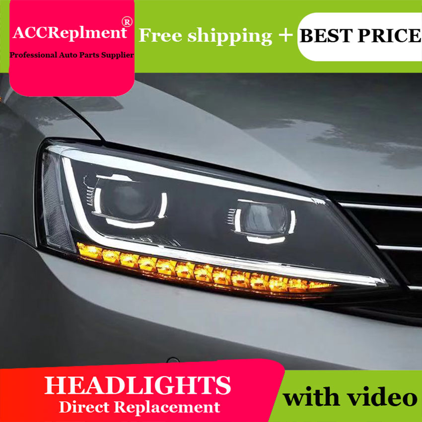AUTO.PRO headlights for Volkswagen jatta 2011 2018 car styling bi xenon lens LED light guide DRL H7 xenon headlamps for jatta-in Car Light Assembly from Automobiles & Motorcycles    2