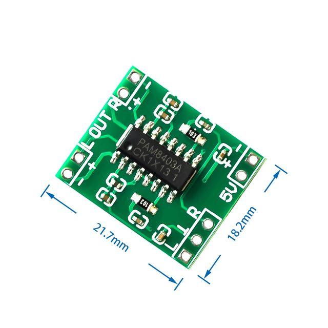 100 قطعة PAM8403 سوبر مضخم رقمي صغير مجلس 2*3 واط فئة D مضخم رقمي مجلس كفاءة 2.5 إلى 5 فولت USB امدادات الطاقة