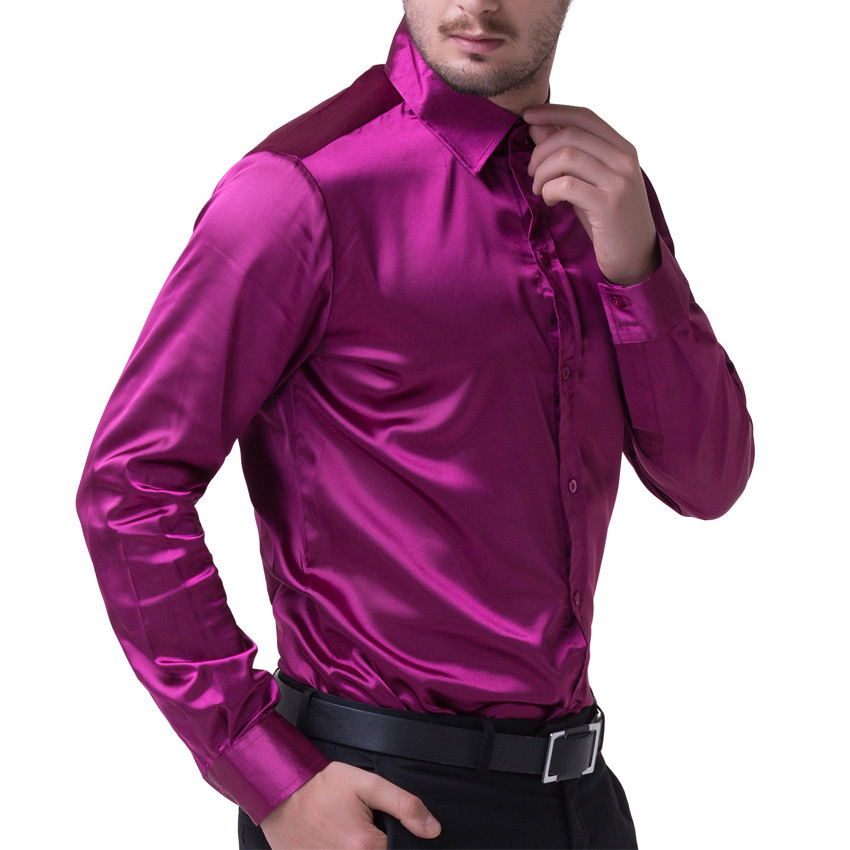 2017 black wine red purple casual men stylish slim fit for Wine colored mens dress shirts