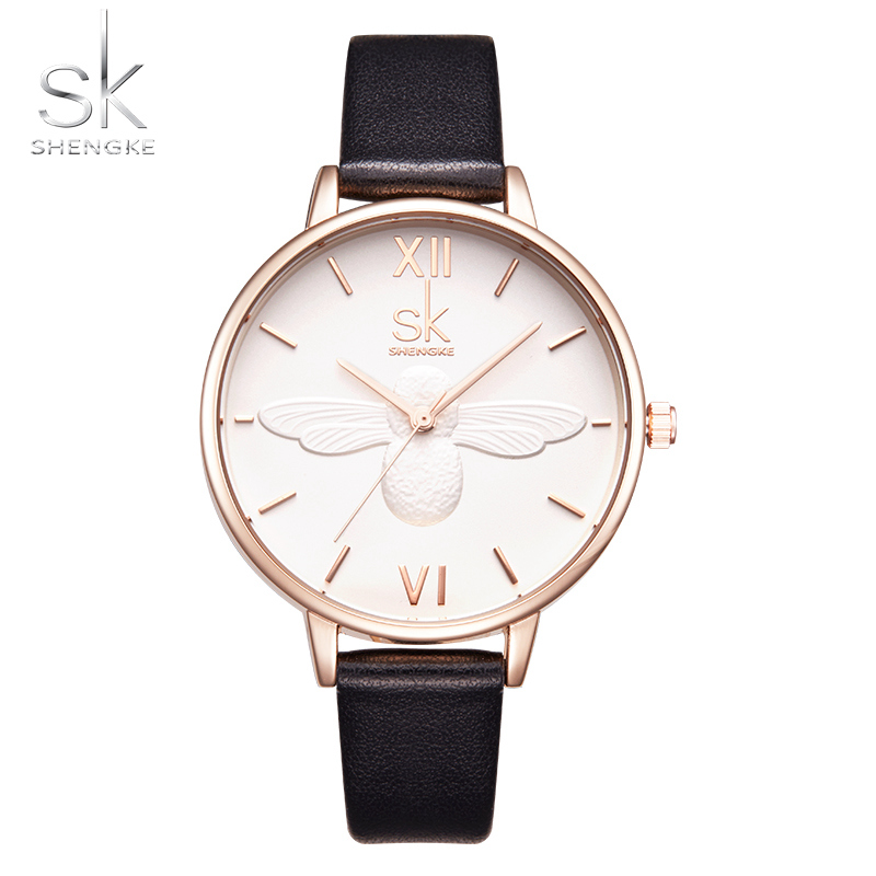 Women Dress Watches Fashion Casual SHENGKE Luxury Brand Quartz Watch Leather Strap Clock Women Wristwatches Reloj Mujer kids watches children silicone wristwatches doraemon brand quartz wrist watch baby for girls boys fashion casual reloj