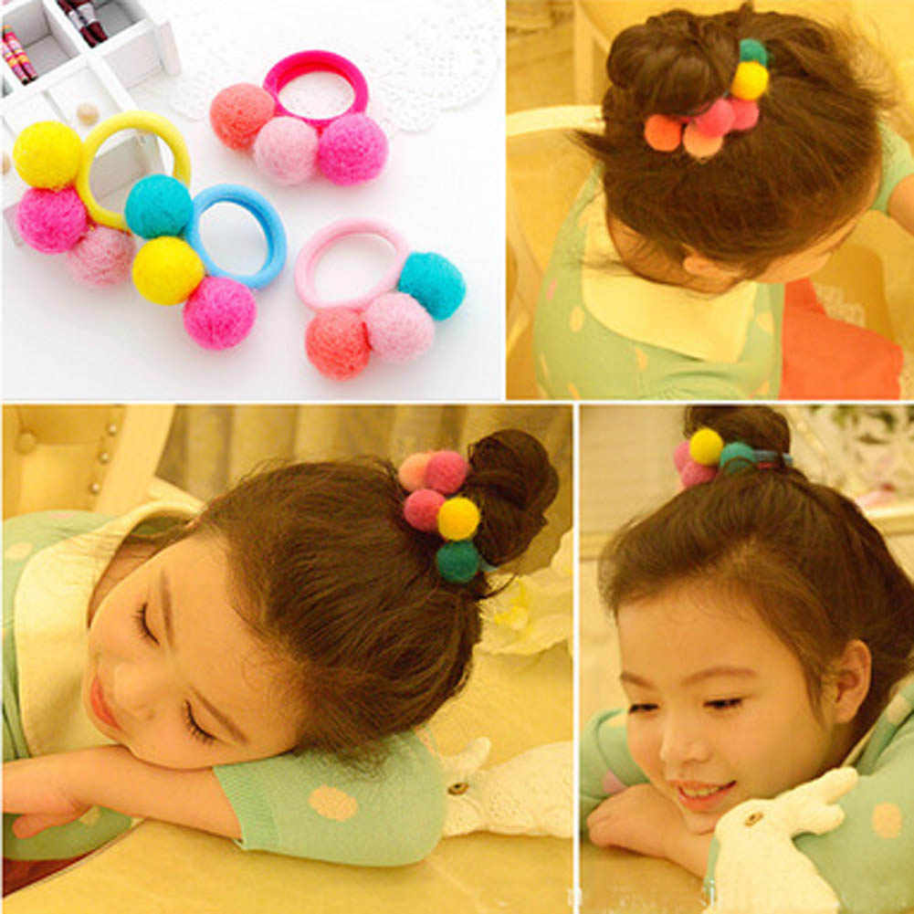 12 Colors Baby Girl Autumn Winter Three Wool Plush Ball Hair Circle Girls Hairline Elastic  Hair Bands