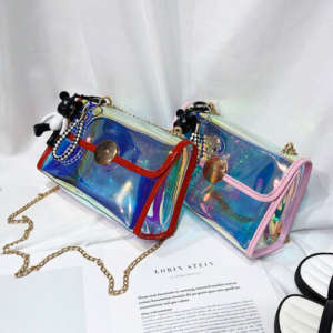 Chain Handbag Messenger-Bag Holographic-Shoulder-Bag Transparent Fashion Women Ladies