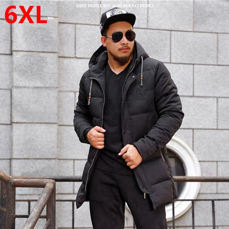 Winter fat XL young men in the long coat thick loose warm jacket fat male coat Male winter coat 6XL