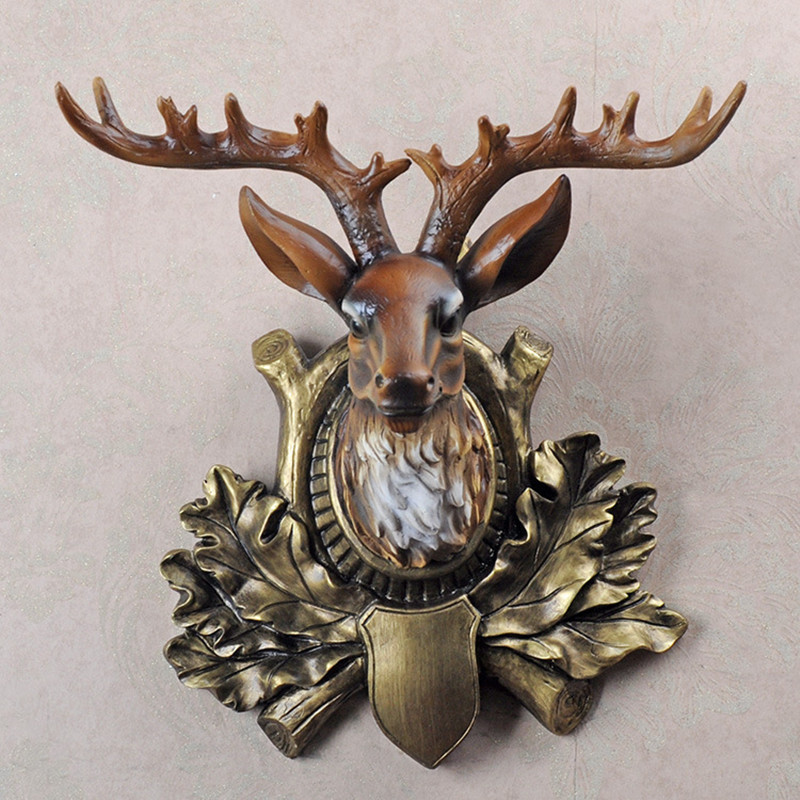 Животные статуя моделирования Симпатичные голова оленя стены кулон канифоль ремесла домашнего рабочего стола украшения офиса смолы подар...