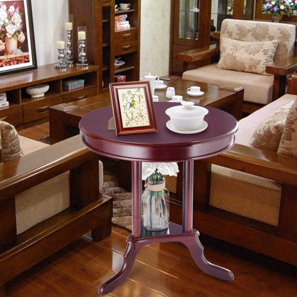 Giantex Round End Table Side Table Home Furnishing Accent Table Shelf Mahogany  Living Room Furniture HW57874