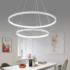 Image 2 - 60 Cm 80 Cm 100 Cm Moderne Hanger Verlichting Voor Woonkamer Eetkamer Cirkel Ringen Acryl Aluminium Body Led plafond Lamp Armaturen