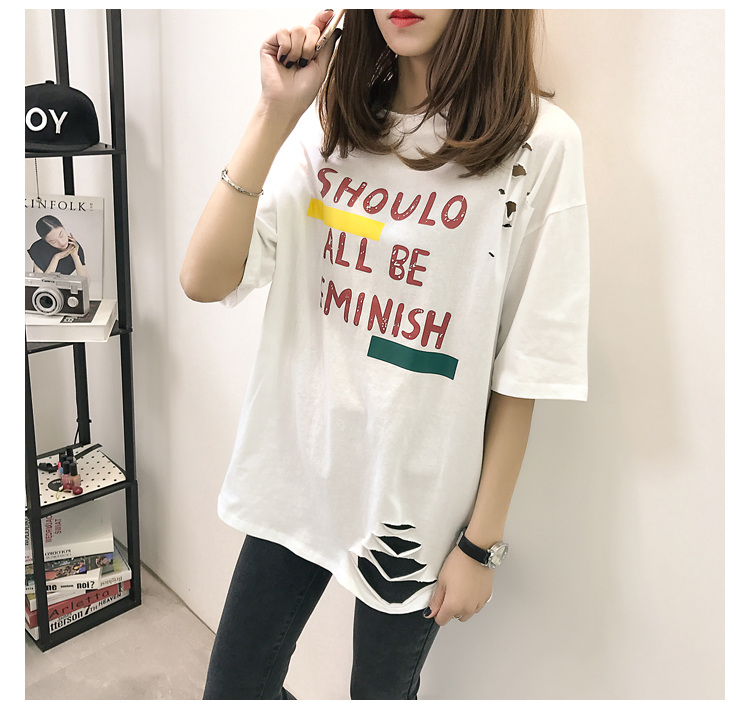 XL- 4XL 2019 new plus size summer loose High Street hole Letter print short sleeve O-Neck women T-shirt top tee TY5 21