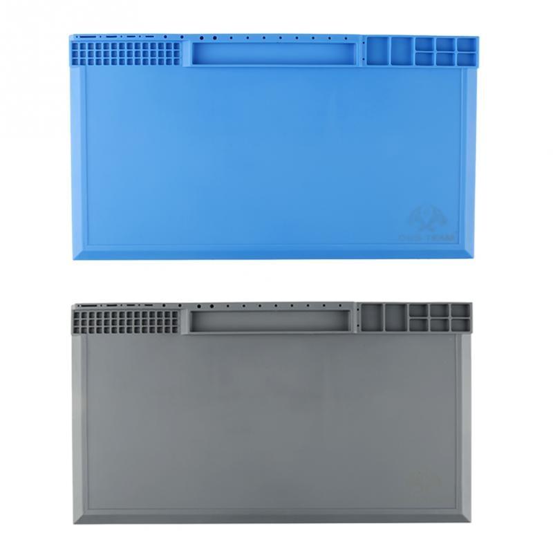 Blue Gray Optional Silicon Heat-resistant <font><b>Repair</b></font> Maintenance Pad Desk Silicone <font><b>Mat</b></font> for <font><b>Phone</b></font> <font><b>Repair</b></font> 380mm*210mm*8mm