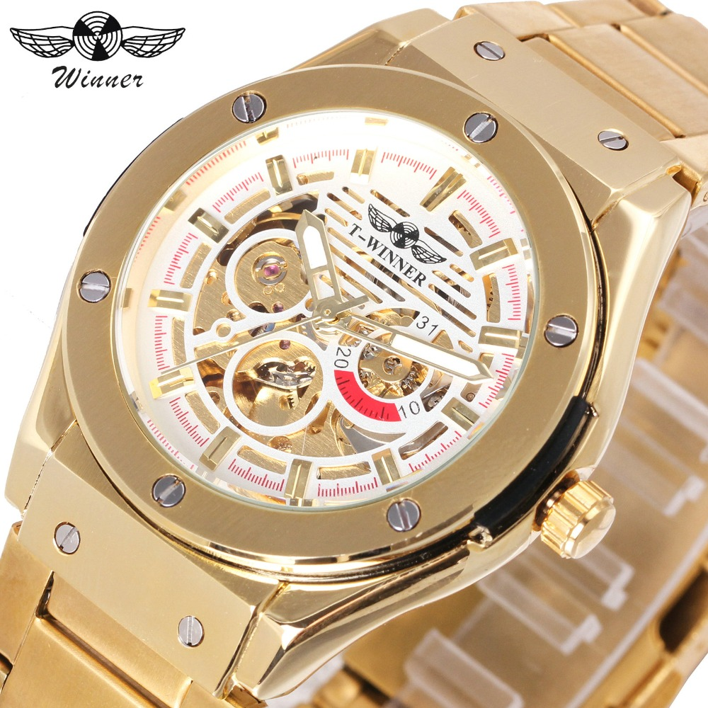 WINNER Golden Men Automatic Mechanical Watch Stainless Steel Strap Skeleton Dial Design Top Brand Luxury Male Wrist watches mens mechanical watches top brand luxury watch fashion design black golden watches leather strap skeleton watch with gift box