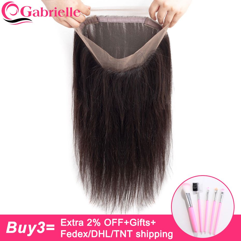 Gabrielle Straight-Hair Closure Lace-Frontal Indian Natural-Color Free-Part Non-Remy