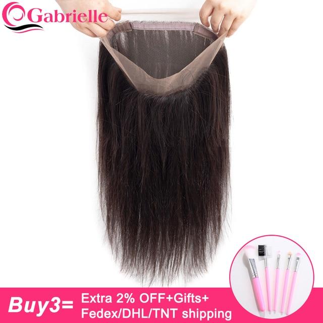 גבריאל הודי ישר שיער 360 חזיתי תחרה עם תינוק שיער טבעי צבע 8-22 אינץ ללא רמי שיער טבעי משלוח חלק סגירה