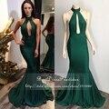 Longos vestidos de baile elegante lindo alta neck sereia low back até o chão sexy verde esmeralda prom dress 2017