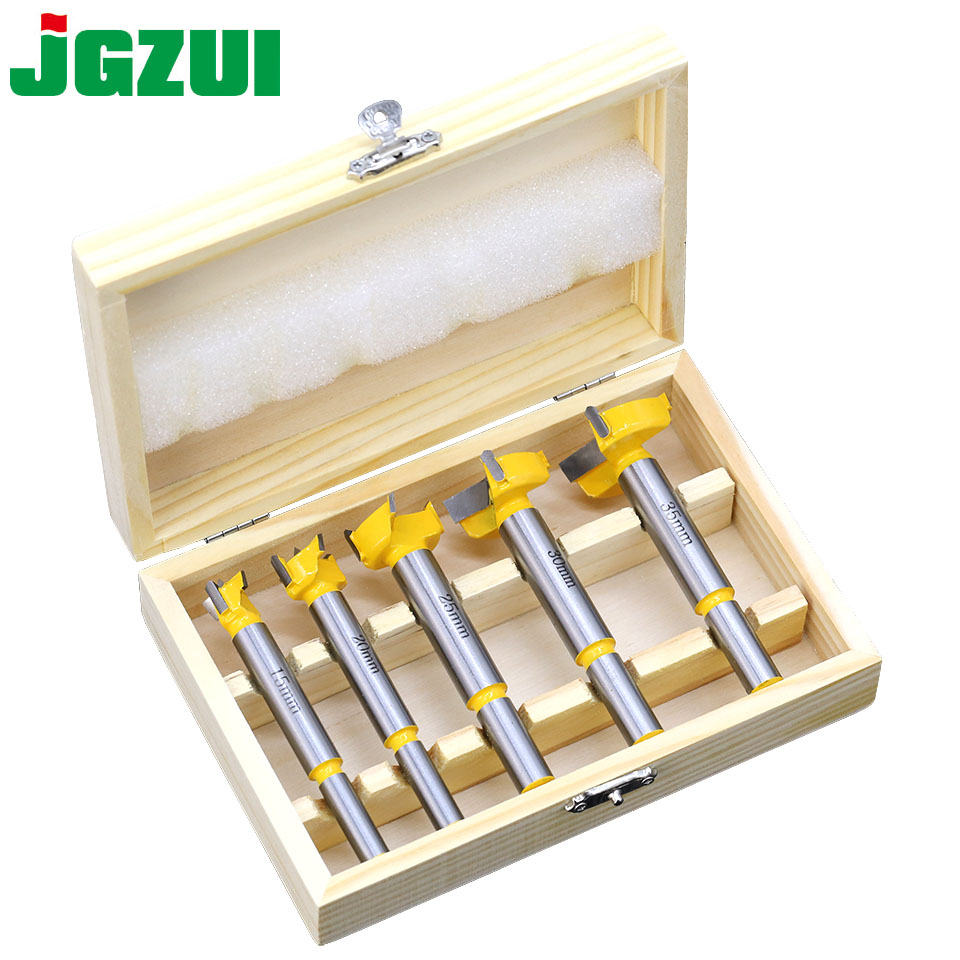 5pc Forstner Tips Hinge Boring Drill Bit Set for Carpentry Wood Window Hole Cutter Auger Wooden Drilling Dia 15 20 25 30 35mm 15 35mm forstner auger drill bit set round shank wood tools forstner tips hinge boring woodworking hole saw cutter hand tool